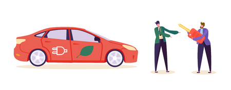 Electro Green Car Customer Buy Auto. Man Character Sell Eco Friendly Renewable Power Transport Vehicle. Recharge Battery Technology Automobile Business Flat Cartoon Vector Illustration Reklamní fotografie - 123179200