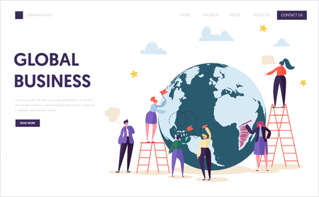 Global Business Team Character Landing Page. Corporate Businessman Work at World Globe with Ladder. Worldwide Logistic Success Contract Concept for Website or Web Page Flat Cartoon Vector Illustration Illustration