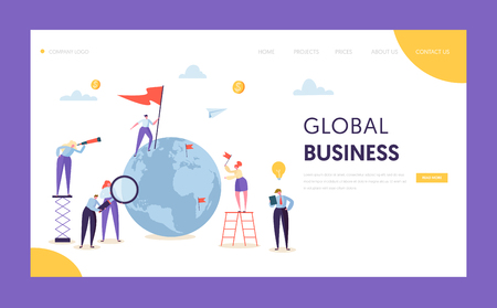 Global Business Leadership Flag Landing Page. Corporate Businessman Search Partnership in World Globe with Ladder. Worldwide Creative Idea Concept for Website or Web Page Flat Vector Illustration Illustration