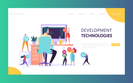 Software Developer Character Technology Landing Page. Web Development Programmer Work at Office Computer. Proffesional Java Team Agency Environment for Website or Banner Flat Vector Illustration