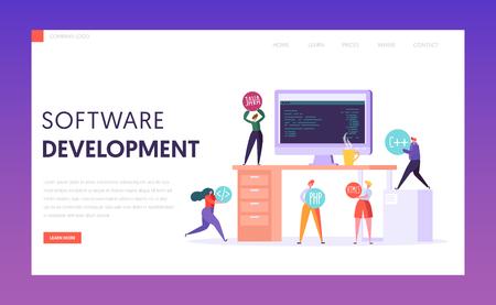 Software Development Technology Teamwork Stack Landing Page. Monitor on Office Desk. Proffesional Webdesign Freelance Team Environment for Website or Banner Flat Vector Illustration
