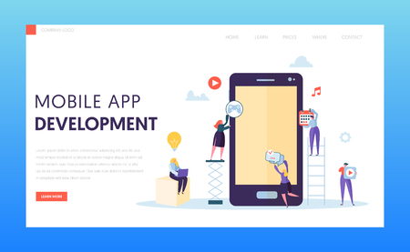 Mobile App Development Ab Test Landing Page. Software Developer Character Provide Ux Innovation Design for Digital Application on Tablet Screen for Website or Banner Flat Vector Illustration