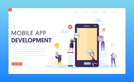 Mobile App Development Ab Test Landing Page. Software Developer Character Provide Ux Innovation Design for Digital Application on Tablet Screen for Website or Banner Flat Vector Illustration