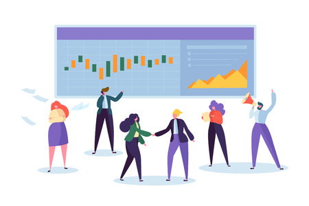 Online Trade Stock Chart Analisys Character. Trader Sell Business Signal Kpi Diagram. Man Monitoring Finance Currency Growth Grapgh. Data Analyst Stockbroker Flat Cartoon Vector Illustration