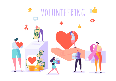 Social Donate Volunteer Character Banner. People Money Charity Work Heart Symbol Poster. Human Care Aids Ribbon. Homeless Crowdfunding Support Organization Flat Cartoon Vector Illustration 일러스트
