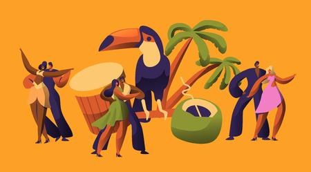 Brazilian Samba Carnival Dancer Latino Character. Bikini Woman Dance Tropical Cuban Salsa. Latin Man in Retro Costume have Fun at Happy Beach Cabaret Parade Flat Cartoon Vector Illustration