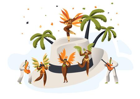 Carnaval de samba brasileña con sombrero de paja de carácter latino. Bikini Pluma Mujer Danza Tropical Tango Cubano. Hombre latino en traje retro diviértase en la ilustración de Vector de dibujos animados plana Happy Cabaret Festival Ilustración de vector