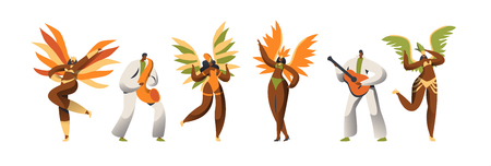 Brazilian Carnival Dancer Character Set. Woman Dance in Exotic Feather Costume at Rio de Janeiro Happy Holiday Celebration. Man Play Guitar. Latino People Parade Flat Cartoon Vector Illustration