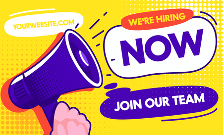 Now Hiring Job Opportunity Concept Banner Template. Vacancy Promotion Advertising Leaflet. Career Opportunity to Recruiting Team with Purple Speaker, Company Hire Talent Ad Poster Vector Illustration