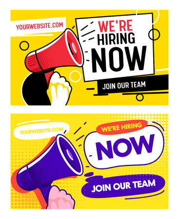 Now Hiring Career Opportunity Banner Set Template. Job Vacancy Promotion Advertising Typography Billboard. Join Creative Company Opportunity. Recruiting Team Hire Employee Poster Vector Illustration