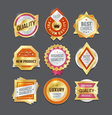 Insignia de etiqueta de calidad Best Set. Diseño de sello de certificado de vendedor de marca premium. Premio símbolo colección de elementos de oro. Etiqueta Engomada Del Emblema Garantía Producto Lujo Real Aislado Ilustración Vector