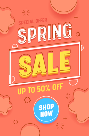 Spring Sale Red Vertical Abstract Banner Template. Promotion Discount Advertising Hot Price Typography Poster. Season Final Deal Offer Message with Shop Now Button Design Flat Vector Illustration