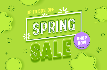 Spring Sale Green Abstract Background Banner Horizontal Layout. Promotion Discount Advertising Special Retail Price Poster. Hot Deal Offer Message with Shop Now Button Design Flat Vector Illustration Stock Vector - 123179234