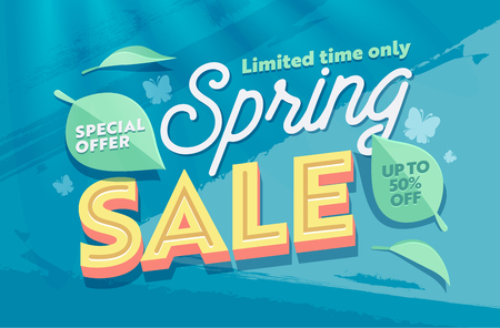 Spring Sale Green Natural Horizontal Banner Template. Promo Discount Season Offer Hot Price Poster. Clearance Super Deal Card Design with Petal and Leaf for Holiday Flat Vector Illustration