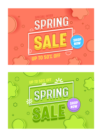 Spring Sale Coral Green Horizontal Banner Template Set. Advertising Discount Special Price Typography Abstract Background Poster. Fashion Season Deal Offer Flyer Flat Vector Illustration