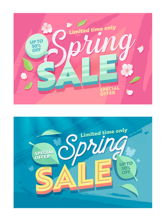 Spring Season Sale Natural Horizontal Banner Template Set. Discount Offer Off Price Typography Poster. Super Deal Promotion Flyer Design with Petal and Leaf for Holiday Flat Vector Illustration