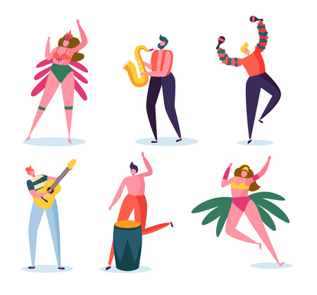 Brazilian Carnival Band Character Set. Fashion Woman in Feather Bikini Dress Dance at Brazil Music Festival. Man Play Guitar and Saxophone for Summer Holiday Isolated Flat Cartoon Vector Illustration