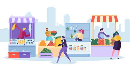 Fresh Food Market Stand. Organic Local Farm Store. Man Customer Character Buy Grocery and Fish in Small Eco Shop. Healthy Goods Supermarket Shelf Concept Flat Cartoon Vector Illustration Illustration