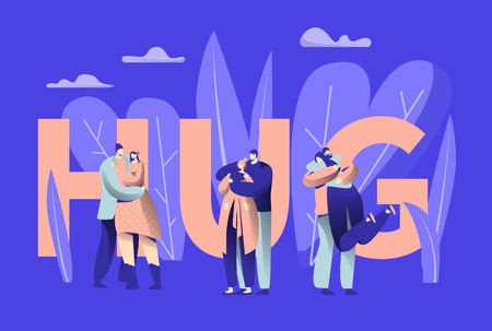 Love Couple Character Hug Typography Banner. Happy Lover Romance Relationship Lifestyle. Woman Man Romantic Connection Concept for Poster Template Vector Flat Cartoon Illustration Illustration