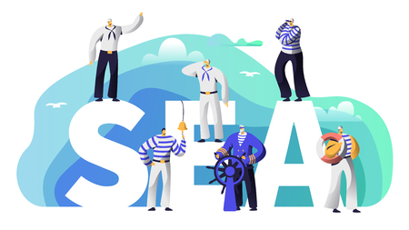 Sea Typography Banner Sailor Character. Old Beard Captain at Steering Wheel Sail to Adventure. Marine Character in Stripped Vest Ring Ships Bell Poster Template Flat Cartoon Vector Illustration