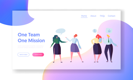 Business Team Corporate Communication Landing Page. Office Community Character Relationship Meeting Teamwork. Company Network Dialog Concept for Website or Web Page. Flat Cartoon Vector Illustration