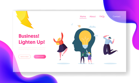 Business Character Creative Idea Landing Page. Teamwork Solution for Company Growth. Woman Lighten up Lightbulb. Education Power Concept for Website or Web Page. Flat Cartoon Vector Illustration