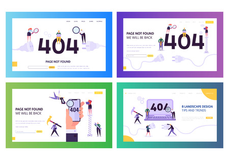 404 Landing Page Error Set. Broken Unplug Socket Sign for Under Construction Service Layout. Funny Character Warning that Web Page on Maintenance Concept for Website. Flat Cartoon Vector Illustration