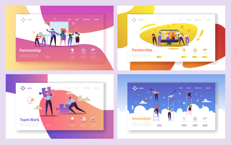 Business People Teamwork Innovation Landing Page Set. Creative Character Team Partnership to Increase Company Success Growth. Businessman Partner Concept for Web Page. Flat Cartoon Vector Illustration Vettoriali