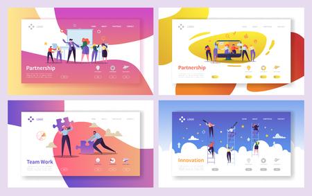 Geschäftsleute Teamwork Innovation Landing Page Set. Creative Character Team-Partnerschaft zur Steigerung des Unternehmenserfolgswachstums. Geschäftsmann-Partner-Konzept für Webseite. Flache Cartoon-Vektor-Illustration