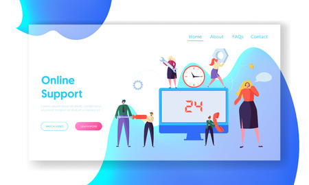 Customer Call Service Online Support Landing Page. Technical Hotline Chat Help Center Assistant Technician Character. Customer Helpline Specialist for Web or Website. Flat Cartoon Vector Illustration Illustration