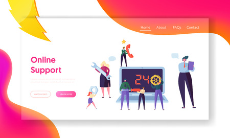 Customer Helpdesk Service Online Support Landing Page. Technical Hotline Call Help Center Engineer Character. Client Helpline Business Operator for Web or Website. Flat Cartoon Vector Illustration