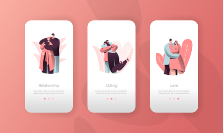 Love Pair People Relationship Mobile App Interface Set. Man Hugging Woman on Valentine Date. Romantic Lover Character Connection Concept for Website or Web Page. Vector Flat Cartoon Illustration