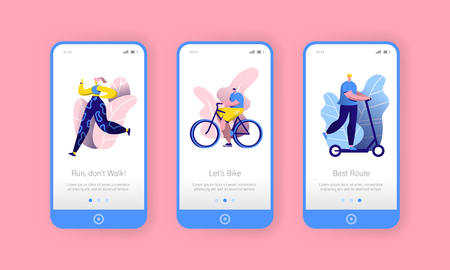 City Park Sport Lifestyle Mobile App Onboard Screen Set. Man Ride Bicycle, Woman Run. Outdoor Fitness People Character Concept for Website or Web Page. Vector Flat Cartoon Illustration
