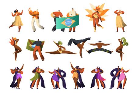 Brazilian Carnival Salsa Dancer Costume Set. Latino Woman Character wear Feather Ethnic Dress Dance at Brazil Music Festival. Couple Samba Show for National Holiday Flat Cartoon Vector Illustration