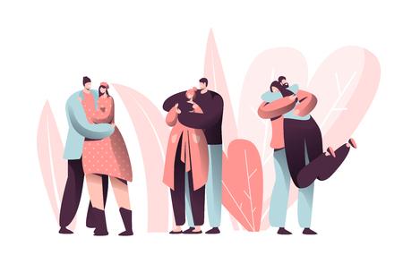 Liebespaar-Charakter-Umarmung auf Valentinsgruß-Dating-Set. Glücklicher Liebhaber-Beziehungs-Jubiläums-Lebensstil. Frauen-Mann-romantisches Verbindungs-Netzwerk-Konzept-Vektor-flache Karikatur-Illustration