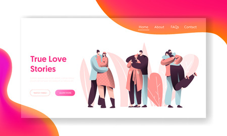 Love Couple Character Hug Landing Page. Happy Lover Relationship Romantic Story. Woman Man Valentine Romance Dating Concept for Website or Web Page. Flat Cartoon Vector Illustration