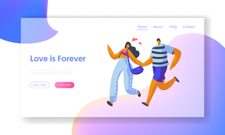 Love Couple Character Run Landing Page Template. Lover Relationship Romantic Story. Woman and Man Together Forever at Valentine Dating Concept for Website or Web Page. Flat Cartoon Vector Illustration