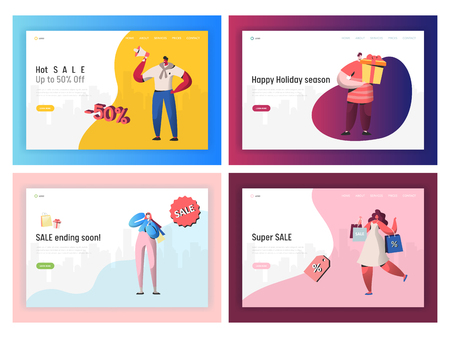 Commerce Sale Offer Promotion Landing Page Set. Online Ecommerce Black Friday Discount Sell. People Character Rush for Present Banner Concept for Website or Web Page. Flat Cartoon Vector Illustration