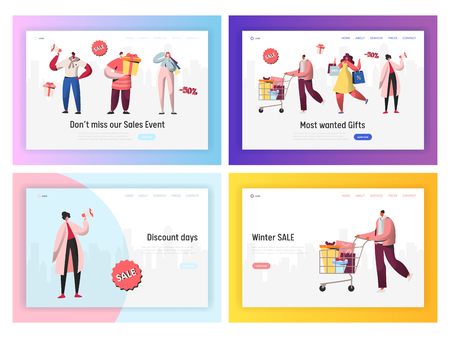 Online Sale Shopping Promotion Landing Page Set. Digital Ecommerce Black Friday Discount Offer. Woman Character Order Present Banner Concept for Website or Web Page. Flat Cartoon Vector Illustration