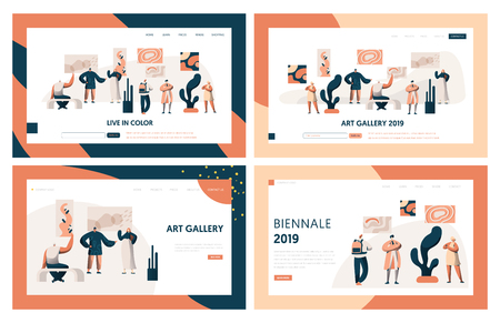 Art Gallery People Visitor Landing Page Set. Man Character in Museum Exhibition Looking to Artwork on Wall. Drawing Public Exposition Concept for Website or Web Page Flat Cartoon Vector Illustration