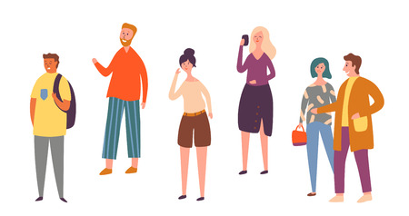 Various People Character Pose Isolated Set. Urban Person Crowd Talking Smartphone. Casual Worker Standing Alone. Adult Stylish Woman Outdoor Collection Flat Cartoon Vector Illustration Vector Illustration