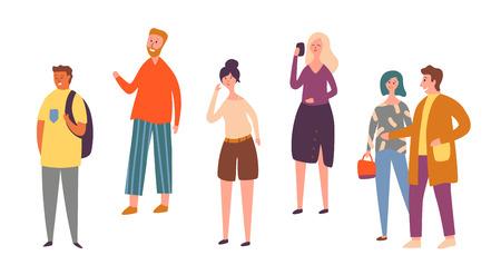 Verschiedene Leute-Charakter-Haltung lokalisierter Satz. Städtische Menschenmenge, die Smartphone spricht. Gelegenheitsarbeiter, der allein steht. Erwachsene stilvolle Frau im Freien Sammlung flache Karikatur-Vektor-Illustration Vektorgrafik