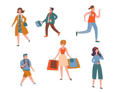 Various People Character Walk Isolated Set. Urban Person Jogging, Talking Smartphone and Shopping. Casual Worker Holding Suitcase. Adult Businessman Collection Flat Cartoon Vector Illustration Banque d'images - 123179301