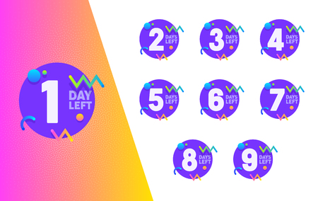 Day Left Counter Purple Circle Badge Set. Advertising Promo Sticker Element Design Collection. Shopping Typography Geometric Count Banner for Business Discount Offer Flat Vector Illustration Illustration
