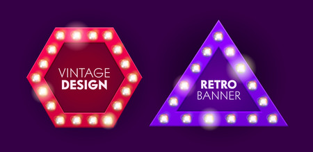 Vintage Bulb Lightbox Sale Offer Banner Design. Hexagon Advertising Board Box for Theatre or Circus. Shiny Triangle Creative Business Signboard. Retro Illuminated Show Poster Vector Illustration