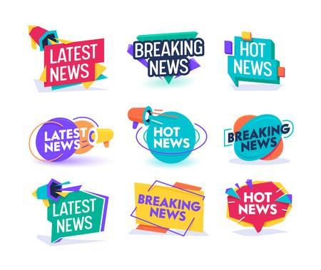 Hot Neueste Nachrichten Tägliches Update-Abzeichen-Vorlagen-Set. Geometrisches Design für wichtige Bruchberichtsetiketten. Online-Magazin-Typografie-Mitteilungs-Informations-Aufkleber-Zeichen-flache Vektor-Illustration