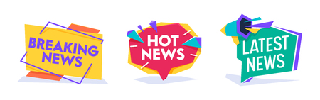 Hot News World Breaking Reportage Typography Banner Template Set. Newsletter Badge for Communication Media Headline. Information Message Announce Circle Poster Flat Cartoon Vector Illustration