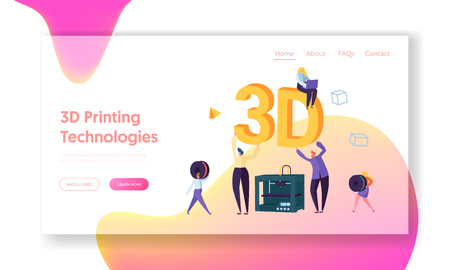 3D Printing Machine Technology Landing Page. People Help to Improve Manufacturing Process Printer. Woman Develop Future Print Program for Website or Web Page. Flat Cartoon Vector Illustration Illustration