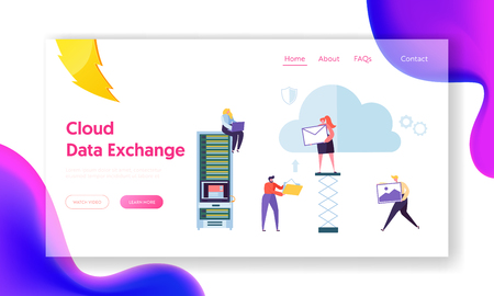 Secure Cloud Storage Info Exchange Landing Page. People Transmit Information, Image to Memory Service. Woman on Hosting Optimize Data Transfer Concept for Website Flat Cartoon Vector Illustration Ilustração