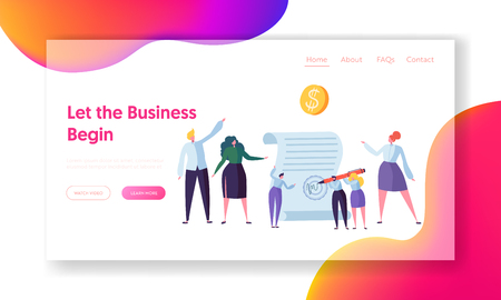 Successful Agreement of Business Cooperation Landing Page. Little People Sign Work Contract. Team Collaboration Start Project Concept for Website or Web Page Flat Cartoon Vector Illustration